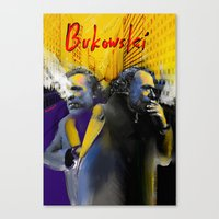 bukowski Canvas Prints featuring Bukowski by Zmudart