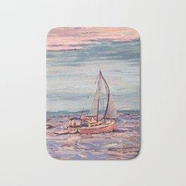 Sailing on the bay at sunset Bath Mat