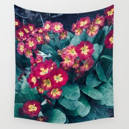 Pretty Little Red & Yellow Flowers Wall Tapestry