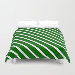 Christmas Green Diagonal Stripes Duvet Cover