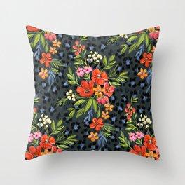 Warm Coral Maximalist Leopard Print Floral Throw Pillow