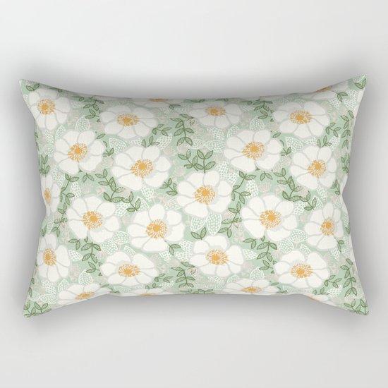 Sage pastel white green flowers blossom garden summer spring nature pattern painting florals Rectangular Pillow