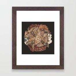Flowers and Moths Framed Art Print