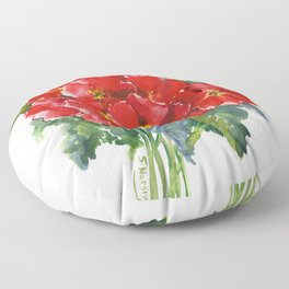 Red Flowers, Primula, red floral design Floor Pillow