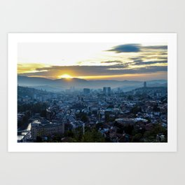 Panorama of the city of Sarajevo during sunset Art Print
