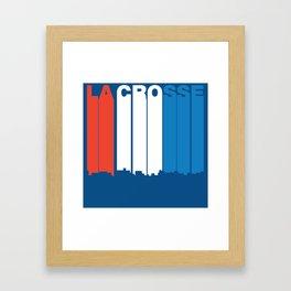 Red White And Blue La Crosse Wisconsin Skyline Framed Art Print