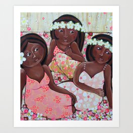 3 Friends sitting at the beach Art Print