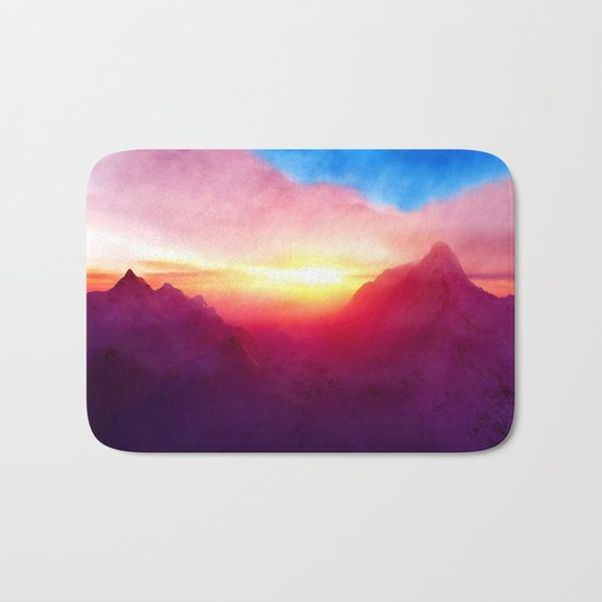 pastel mountain Bath Mat