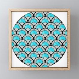 Aqua Art Deco Twenties Fan Pattern Framed Mini Art Print