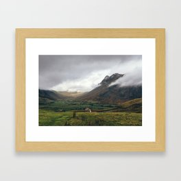 Langdale Valley and Langdale Pikes in cloud. Cumbria, UK. Framed Art Print