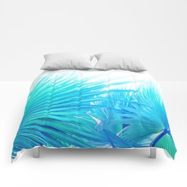 Solar Summer Fan Palms - Blue and Aqua Comforters