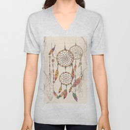 Bohemian dream catcher with beads and feathers Unisex V-Neck