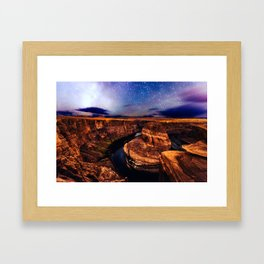 Horseshoe Bend Starseeds - Starry Sky Night at Grand Canyon Arizona Framed Art Print