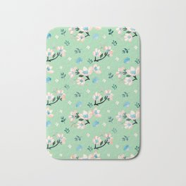 Be who you want to be - pastel flowers in mint Bath Mat