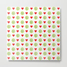 Heart and green flower Metal Print