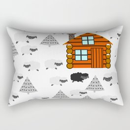 Winter cabin with sheep Rectangular Pillow