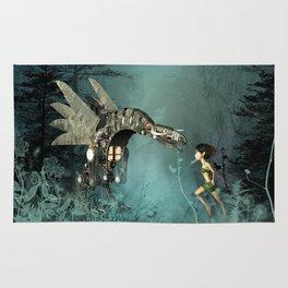 Cute fairy with steam dragon Rug
