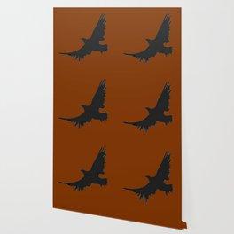 COFFEE BROWN FLYING BIRD SILHOUETTE Wallpaper