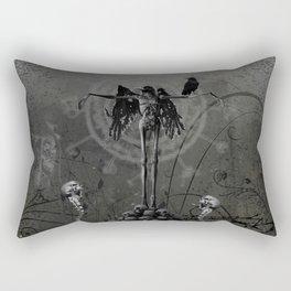 Awesome crow skeleton with skulls Rectangular Pillow