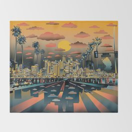 los angeles city skyline Throw Blanket