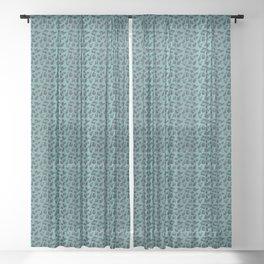 Leopard Kitty - teal Sheer Curtain