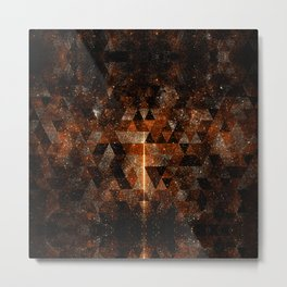 Gold beam in geometric sparkly universe Metal Print