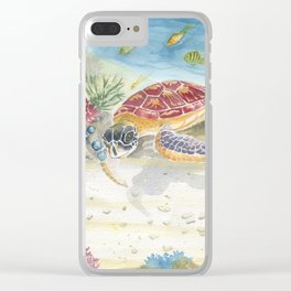Colorful Sea Turtle 2 Clear iPhone Case