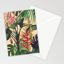 Vintage Tropical Flora (green) Stationery Cards