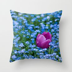 Pink Tulip in the blue Throw Pillow
