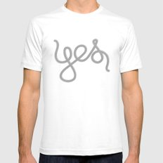 Yes White SMALL Mens Fitted Tee