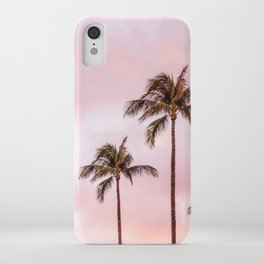 Palm Tree Photography | Landscape | Sunset Unicorn Clouds | Blush Millennial Pink iPhone Case