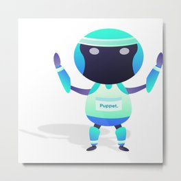 Robot Marathon Puppet Metal Print