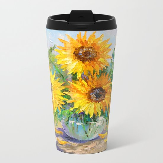 Bouquet of sunflowers on the table Metal Travel Mug