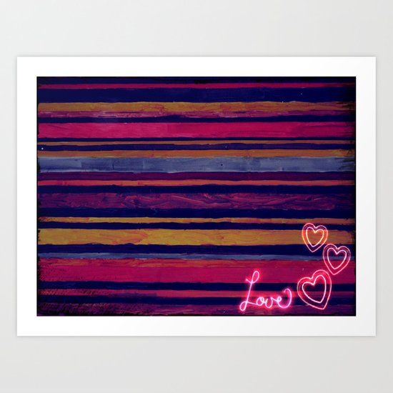 Stripes and love Art Print