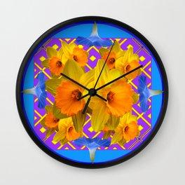 Sapphire Blue Morning Glories & Daffodils Pattern Art Wall Clock