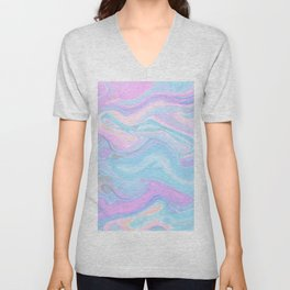Sea Marble Candy Pattern - Violet, Aqua and Blue Unisex V-Neck