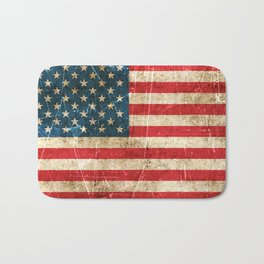 Vintage Aged and Scratched American Flag Bath Mat