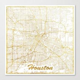 Houston Map Gold Canvas Print