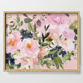 Festive, Floral Watercolor, Pink Rose Bouquet Serving Tray