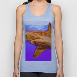 Painted Shark, Orange Unisex Tank Top