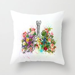 Flowers Lungs Skeleton Watercolor Throw Pillow