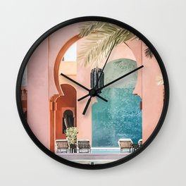 Oil Painting Traditional Moroccan Riad Building Architecture Wall Clock