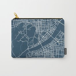 Hangzhou Blueprint Street Map, Hangzhou Colour Map Prints Carry-All Pouch