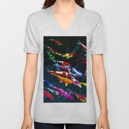 Vibrant Blue, Red, & Gold Koi Amid the Lotus Flowers Painting by Jeanpaul Ferro Unisex V-Neck