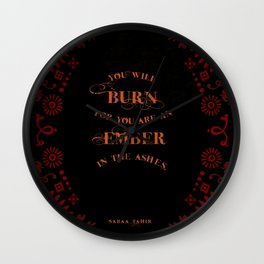 An Ember in the Ashes Quote Wall Clock