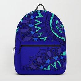 Hand- Drawn Bohemian Mandala in Sapphire Blue Backpack