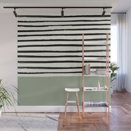 Sage Green x Stripes Wall Mural