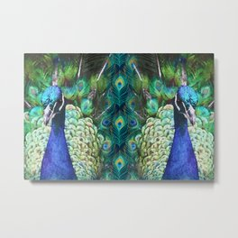 PEACOCKS BLUE Metal Print