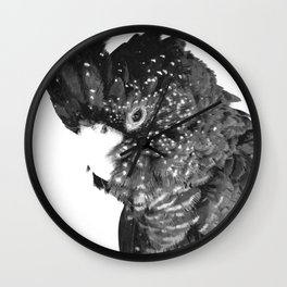 Black and White Cockatoo Illustration Wall Clock