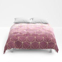 Pink gold geometric pattern Comforters